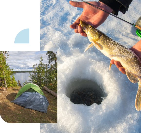 This is a decorative image of a person holding a northern pike while ice fishing as well as another image of a tent by a lake.
